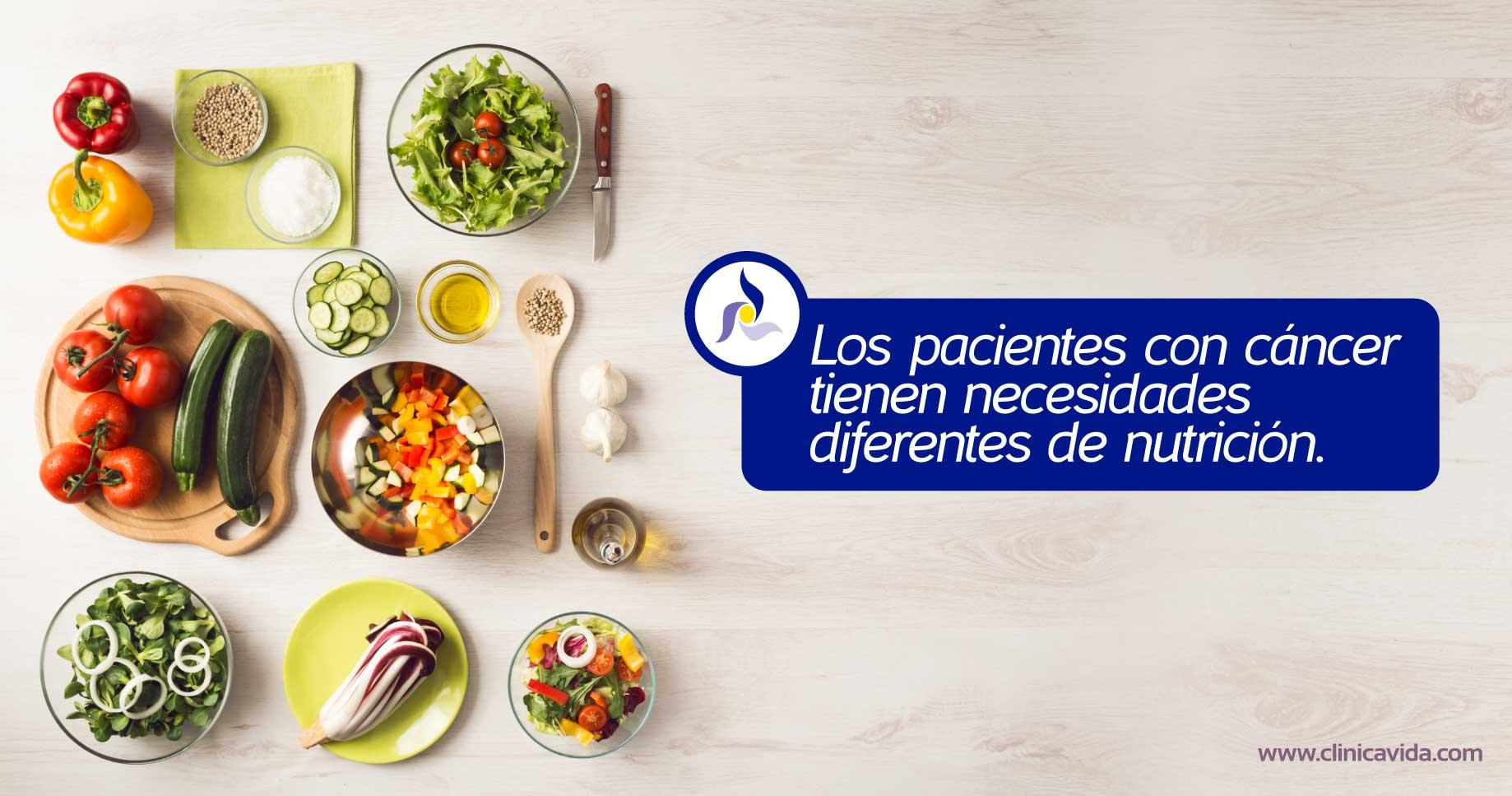 Las personas con cáncer tienen necesidades diferentes de nutrición